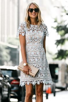 Fashion Jackson, Dallas Blogger, Nordstrom Short Sleeve Blue Lace Dress, YSL Nude Clutch