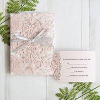 elegant blush pink laser cut wedding invitation with gray band swws034