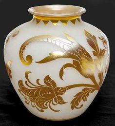 """Steuben Acid Cut Back Vase ; shape #2683, gold Aurene cut over Alabaster in the Sheldon pattern, 12"""" ht. / SOLD $10,500"""