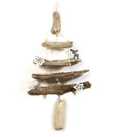 sapin de noel en bois flotté +- 25cm avec cerfs et formes en feutrine : Accessoires de maison par zen-et-nature