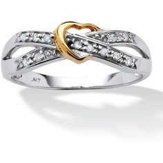 Palmbeach Jewelry Diamond Accent 10k White Gold 10k Yellow Gold... ($281) ❤ liked on Polyvore featuring jewelry, rings, white, heart shaped rings, two tone ring, yellow gold rings, criss cross ring and gold heart shaped ring