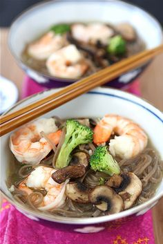 "Easy Shrimp, Mushroom & Soba Noodle Soup Recipe - Sub in ""Miracle Noodles"" for Lo-Carb, Lower Cal."