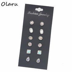 Olaru Jewelry 6pairs/Set Fashion Water Drop Crystal Trendy Small Cute Stud Earring For Woman 2017 Hot New Earrings Set Best Gift #Affiliate