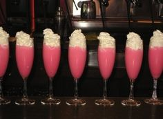 pink panties drink is two frozen pink lemon aid lots of vodka (can't taste vodka at all) blend with ice then top with whip cream--bachelorette party drinks! Change vodka to fresca for non-alcohol Cocktail Drinks, Fun Drinks, Yummy Drinks, Alcoholic Drinks, Drinks Alcohol, Pink Cocktails, Vodka Drinks, Alcohol Recipes, Fresca Drinks