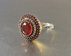 Sterling Ruby Ring Cocktail White Topaz Spinel by LynnHislopJewels