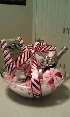 Ideas for making a chocolate gift basket miscellaneous pinterest peppermint theme basket candle candy wine etc solutioingenieria Choice Image