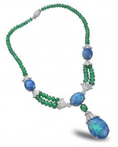 Oscar Heyman Platinum, Opal, Emerald Bead and Diamond Necklace.  Winner of 2012 Platinum Innovation Awards  for Editor's Choice in Platinum Red Carpet Jewelry