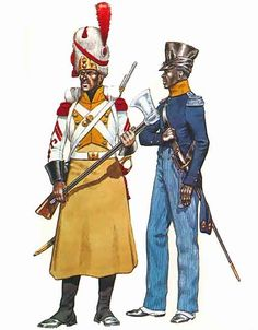 """""""• Pioneer, 7th Line (Royal African Regt.), full dress, 1812 • Officer, 7th Line (Royal African Regt.), service dress, 1812"""" Michael Chappell"""