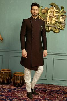 Buy Wine Black Asymmetrical Indo Western Sherwani Online from Bodylinestore at best price. Select wide range of men's wedding sherwani, designer Sherwani for groom, traditional sherwani, jodhpuri Sherwani, sangeet sherwani and more. Sherwani For Men Wedding, Wedding Dresses Men Indian, Sherwani Groom, Mens Sherwani, Wedding Dress Men, Punjabi Wedding, Indian Weddings, Wedding Couples, Wedding Ideas