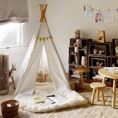 Wigwam Tents Blending Kids Playroom Ideas into Cozy Children Bedroom Decorating-cute