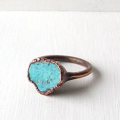 Turquoise Ring Raw Gemstone Birthstone Cocktail Ring Size 7.5 December Copper Jewelry Robins Egg Blue
