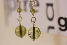 Peridot Tourmaline Earrings Heart Chakra Earrings by INOMINOS, €15.73