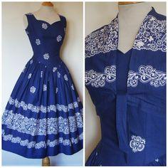 1950s Dress / 50s Sun Dress and Matching Bolero Jacket / Novelty Lace Border Print / Navy White Cotton / Dropped Basque Waist / S Small