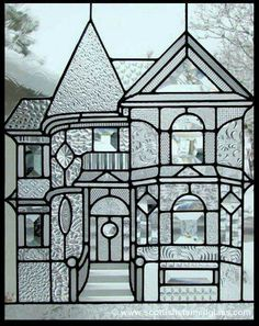 "Victorian Home Stained Glass Window.make smaller version with white ""glass"" plastic sheets and puffy paint. Patterned glass affixed on back of sheet and puffy paint drawn on front. Stained Glass Designs, Stained Glass Projects, Stained Glass Patterns, Stained Glass Art, Stained Glass Windows, Leaded Glass, Beveled Glass, Mosaic Glass, Glass Door"