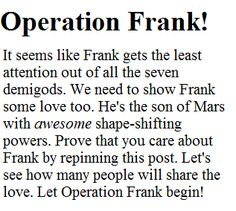 Let operation Frank begin! Support the cause! Show Frank Zang some love! #PercyJackson