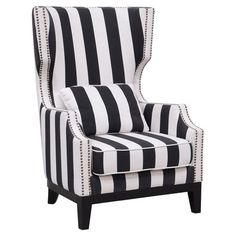 Kosas Home Black White Stripe Sandy Club Chair