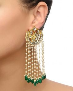 Kundan stone studded round earrings with faux pearl beaded tassels. Green bead drops. Closure: Push back