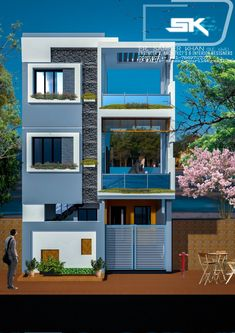 Introducing modern house elevation design in front By Er. Duplex House Plans, Duplex House Design, Unique House Design, House Front Design, Front Elevation Designs, House Elevation, 3 Storey House, Vernacular Architecture, Drawing Rooms
