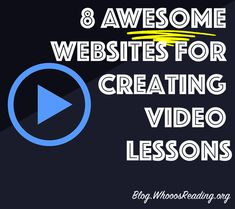 8 Awesome Websites for Creating Video Lessons - no more letting sick students fall behind! Reading Logs, Free Lesson Plans, Attention Span, Educational Technology, Awesome Websites, Life Skills, Teacher Resources, Classroom, How To Plan