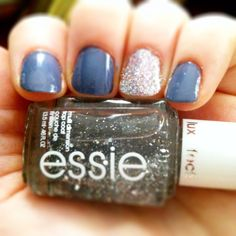 """Essie """"Set in Stones"""". Perfect accent nail color, especially for all the engaged women out there, show off your ring.  ;)"""