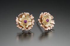 2.5mm Ruby,14K rose,18KY earrings.