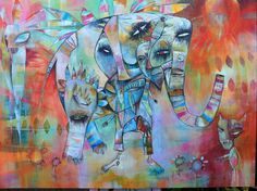 https://flic.kr/p/z8iT7T | The Elephant. Acrylics on canvas 100cm - 80cm