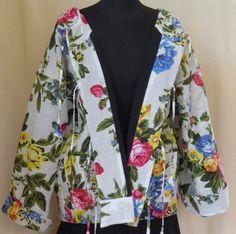 veste doudoune blanche à fleurs doublée polaire : Manteau, Blouson, veste par akkacreation