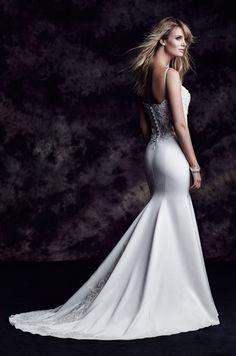 @palomablancawed Style 4602: French Alençon Lace and Paloma Satin Wedding Dress. www.palomablanca.com #PalomaBlanca #weddingdress #weddinggown #wedding #dress