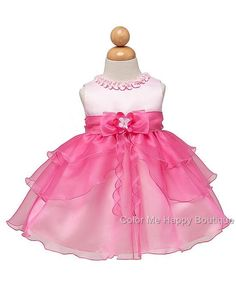 Pink and fuchsia organza tiered skirt special occasion dress (baby girls  0-24m) d18ada9c6