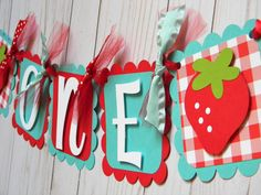 Strawberry Birthday Party High Chair Mini Banner in Red and Teal - Strawberry Party Decorations - First Birthday - High Chair Garland by sweetheartpartyshop on Etsy https://www.etsy.com/listing/526560454/strawberry-birthday-party-high-chair