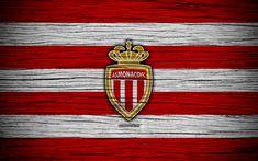 Download wallpapers AS Monaco, 4k, France, Liga 1, wooden texture, Monaco FC, Ligue 1, soccer, football club, FC Monaco