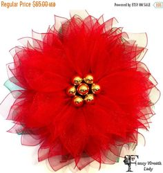 SALE Poinsettia Wreath Christmas Wreath Deco  Available in Red, Burgundy, and Gold by FancyWreathLady #christmas #poinsettia