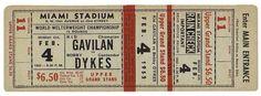 Vintage boxing bout admission ticket, Miami Stadium, 1952.