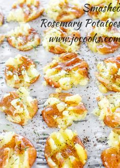Smashed Rosemary Potatoes - baby red potatoes drizzled with olive oil and seasoned with salt and pepper and fresh rosemary. A perfect side dish.