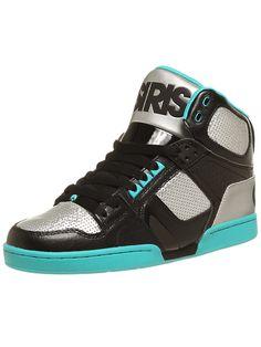 the Osiris NYC 83 Shoes in Black/Gunmetal/Sea
