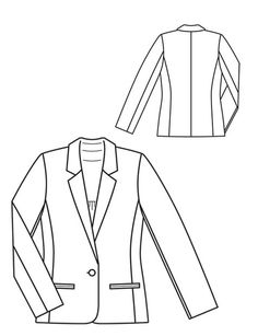 2012-06-106 BS 36-44 Flat Drawings, Flat Sketches, Blazer Pattern, Jacket Pattern, Fashion Vocabulary, How To Make Clothes, Drawing Clothes, Technical Drawing, Fashion Sketches