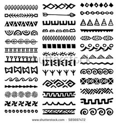 Doodle Patterns 693976623803652333 - Collection of Hand Drawn Borders in Ethnic Style. Tribal Patterns, Doodle Patterns, Zentangle Patterns, Arte Tribal, Aztec Art, Mandala Design, Mandala Art, Hand Drawn Border, Motif Art Deco