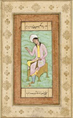 Portrait of a Youth, Folio from The Salim Album Sufi Saints, Indian Artwork, Mughal Empire, Calligraphy Art, Portrait Art, Youth, Miniatures, Album, Drawings