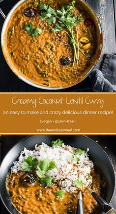 Creamy Coconut Lentil Curry takes less than an hour to make (mostly hands off time) and is packed full of delicious Indian flavors. It's a healthy vegan recipe that makes a perfect meatless Monday dinner recipe. Curry Recipes, Vegetarian Recipes, Cooking Recipes, Healthy Recipes, Fast Recipes, Thai Recipes, Dairy Free Rice Recipes, Vegan Lentil Recipes, Cooking Corn