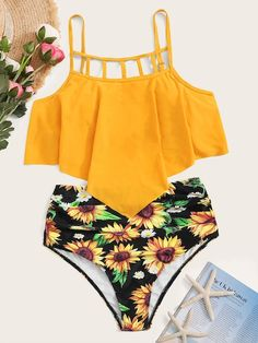 To find out about the Ladder Cut-out Hanky Hem Bikini Swimsuit at SHEIN, part of our latest Bikini Sets ready to shop online today! Sexy Bikini, Bikini Swimwear, Women's Bikinis, Bikini Beach, Bandeau Bikini, Bikini Girls, Nylons, Sunflower Bikini, Glamour