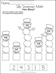 Silly Snowman Math Numbers Worksheet - Madebyteachers Free winter math worksheet for number recognition practice. Count the snowballs in each snowman, then cut and paste the number that matches. Find more winter math worksheets for Kindergarten an Numbers Preschool, Math Numbers, Preschool Learning, Teaching Numbers, Writing Numbers, Student Learning, Kindergarten Math Worksheets, Worksheets For Kids, Preschool Activities