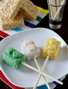 Rice crispy treats on a stick! Another cute birthday party idea for a lego-obsessed kid.