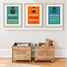 3 affiches super héros avec citations pour enfant