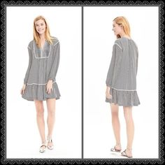 """Banana Republic Stripped Shirt-Waist Dress Banana Republic Stripped DressPreppy stripes meet a drop-waist silhouette in this flirty shirt dress• pin-tuck bib•drop- waist styling•split neckline•long shirred sleeves•100% polyester •partially lined•dry clean and imported• length 37""""So fun! Great dress for a day at the office•drinks with the girls•brunch or date night Banana Republic Dresses Long Sleeve"""