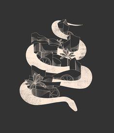 serpentcity by junillu Charcoal Color, Outline, Tank Man, Long Sleeve Tees, Art Prints, Illustration, Men, Design, Kendall Charcoal