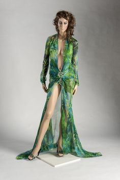 55ce35cd0b4cd 2000  Donatella Versace  Versace  Green bamboo print silk dress and  jewelled mules.