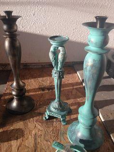 Tiffany Blue and gold antiqued candle holder :  wedding black candle pillars diy gold inspiration reception tarnished copper teal tiffany blue After 1st Coat Of Blue