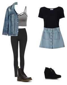 """""""Tumblry outfits"""" by stylemusiclife on Polyvore featuring Topshop, Dr. Martens, Frame Denim, Madewell and TOMS"""