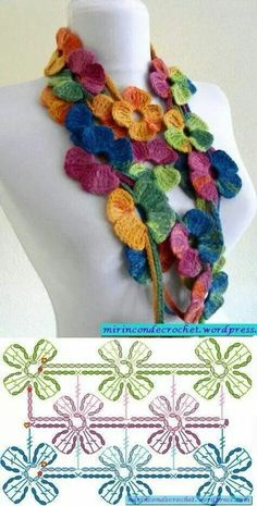 Scarf simple rose crochet pattern - pinched from somewhere.crochet flower stitch with good graphRose Motif Scarf - Free Crochet Diagram - (mirincondecrochet.Cheerful crocheted flower scarf with link to symbol pattern.Flower scarf crochet pattern ~ this on Shawl Crochet, Col Crochet, Crochet Flower Scarf, Bonnet Crochet, Crochet Motifs, Crochet Diagram, Crochet Chart, Crochet Scarves, Irish Crochet