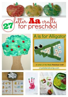 27 Letter A Crafts for Preschool...I really like the alligator eating Aa's and apple stamping